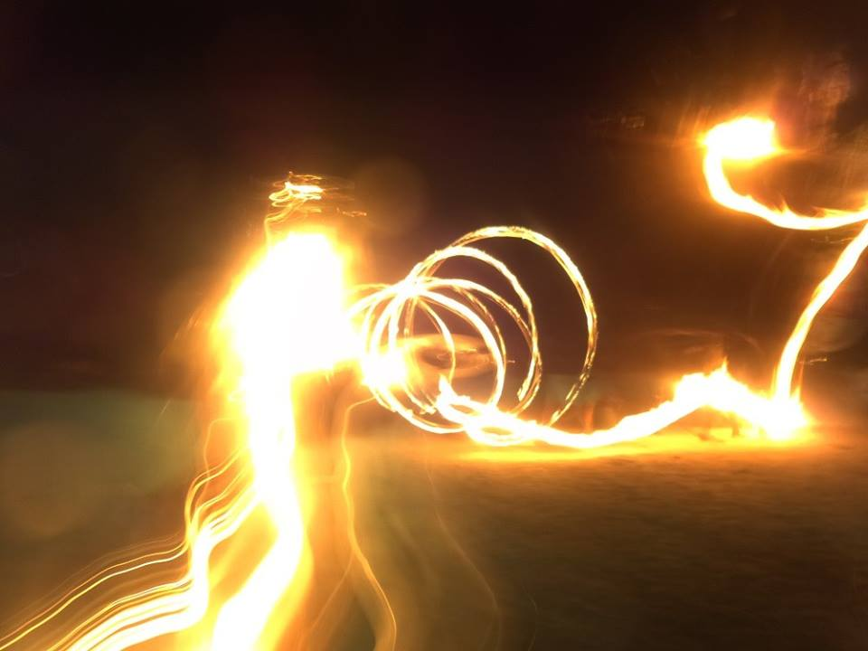 fire show on palolem beach, goa